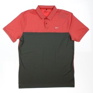 Nike Mens Golf Icon Color Block Polo Shirt Top Red